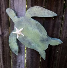 Chunky Wooden Sea Turtle, Beach-y Cottage Decor, Rustic Cabin Decor