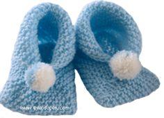 Tutorial: zapatitos de bebe de dos cuadrados tejidos en dos agujas o palillos