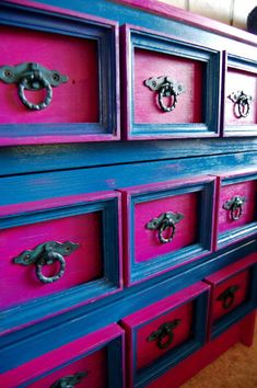 paint ideas, old furniture, color combos, blue, old dressers, garage sales, painted cabinets, chest of drawers, craft rooms