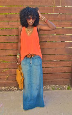 Neon Orange Tank + Distressed Denim Maxi Skirt