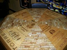Cork and Wine Crate Table Top Idea