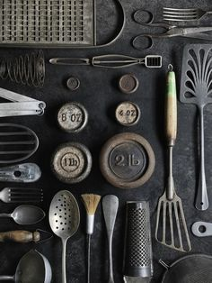 Collection... kitchen utensils, kitchen gadgets, vintage kitchenware, vintage tools, metal, antiqu, kitchen stuff, vintage objects, kitchen tools