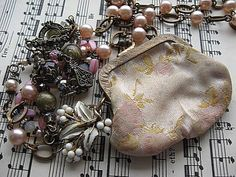Assemblage Necklace Vintage Flowered Coin Purse by StRageJewelryCo, $48.00