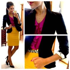 This girl posts her office outfits and where to buy each piece!--Affordable places, such as JCP and Target!