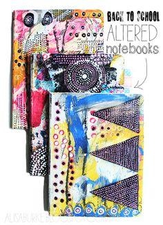 alisaburke: back to school altered notebooks white houses, art journal, alisaburk, journal covers, science notebooks, alter notebook, kid crafts, back to school, alisa burk