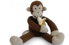 Knitted monkey free pattern, including the banana. How cute!
