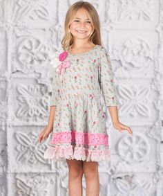 Loving this Gray Floral Lace Princess Dress - Toddler on #zulily! #zulilyfinds