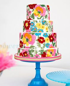 Hand Painted Tiered Floral Patterned Cake