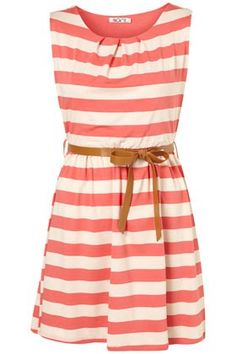 pink stripe dress with brown belt
