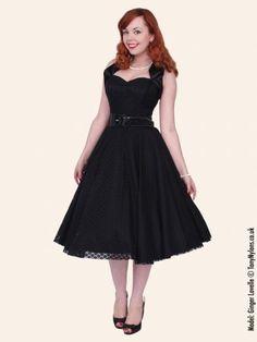 1950s Halterneck Luxury Black Satin Lace Dress