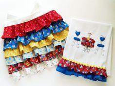 Ruffled half apron, and dishtowel but same idea for diaper burp cloths!
