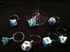 Blue and white Gamer dice wine charm set of 7.