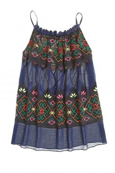 Aya Embroidered Crinkle Cotton Tank