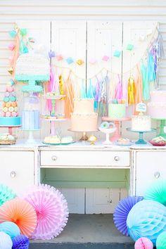 dessert tables, vintag parti, sorbet color, pastel dessert, pastel party, pastel parti, color parti, kid birthday parties