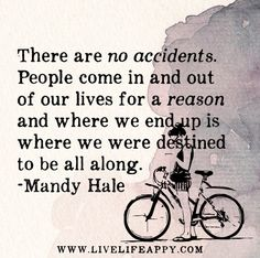 There are no accidents. People come in and out of our lives for a reason and where we end up is where we were destined to be all along. -Mandy Hale