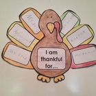 "Thanksgiving Turkey - Writing Activity  ""I am thankful for...""  Instructions: Give each of your students one turkey and a page of feathers. Have th..."