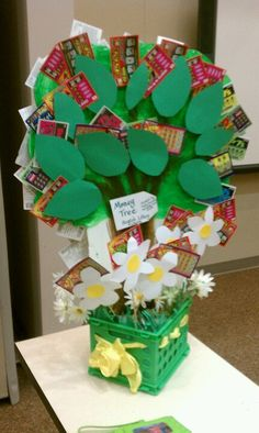 Money tree with lottery tickets