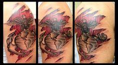 USMC Tattoo, Marine Corps Tattoo, Ripped Skin, Ripped Flesh