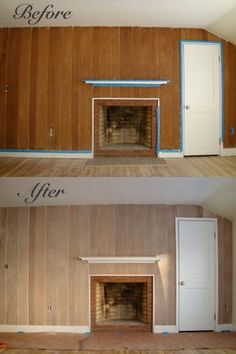 "design-art-life: how to ""whitewash"" wood paneling with paint. 1.Strip   2.Sand   3.Vacuum   4.Wipe   5.Paint (25% paint, 75% water)   6.Wipe excess   7.Steel Wool"