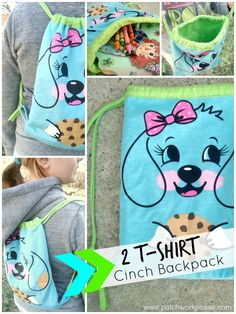 tshirt cinch sack tutorial #upcycle #freepattern | patchworkposse.com (could be made with grownup print shirts too!)