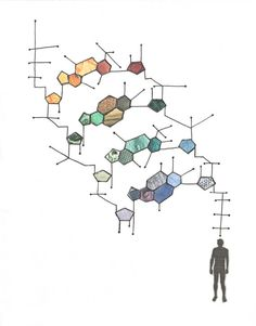 "Colour Art Print: ""DNA Man"" - Colourful print of an original collage of a man who has a DNA strand floating above his head. A5 dna man, dna strand, art prints, bulli suck, colour print, de tres, casa de, school project"