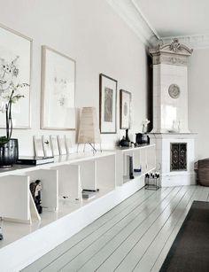 interior design, living rooms, elle decor, corner fireplaces, shelv