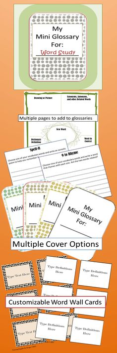 A word study unit that can be used with ANY unit of study. Each packet includes a mini glossary with 5 colors to chose from, multiple word work pages to build vocabulary and writing skills, also a customizable word wall, and extra practice pages incorporating parts of speech. $