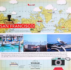 love the map #scrapbooking #layout #travel