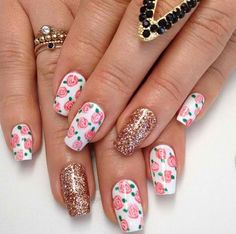 Hand-painted flowers & sparkles-