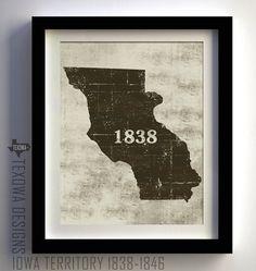 Iowa Territory Historical 18381846 by texowadesigns on Etsy, $25.00