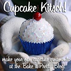 holiday, decor, retro cupcak, diy cupcak, cupcak ornament, crafti, cupcakes, christma, ornaments