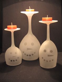 Etched Wine Glass Snowman Christmas Holiday Candle Holder Set. $20.00, via Etsy.