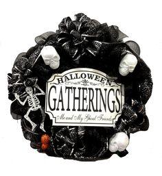 Halloween Deco Skull Wreath designed by Toni M., A.C. Moore Syracuse, NY #decomesh #wreath #halloween