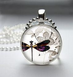 Dragonfly Necklace Dragonfly Pendant Dragonfly Jewelry Glass Cabochon Bezel Art Photo Pendant JP1983