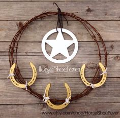 Horseshoes  Star CA Barbed Wire Wreath. Western Home Decor by HorseShoeFever. Country, Rustic, Barbwire, Modern, Farm, Ranch, Cowgirl, Cowboy, Horses, Rodeo, Wall Art, Birthday, Graduation, Christmas, Gift Idea, Present Ideas, Interior, Outdoor, Western Wedding Decorations,