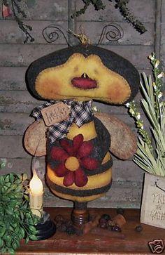 Primitive Bumble Bee Garden Bug Ornie Doll Pattern #488