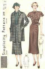 1930's Skirt, Blouse and Swagger Coat Pattern Bust 34