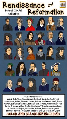 Portraits in History- HUGE Renaissance and Reformation Clip Art Collection-Commercial Use