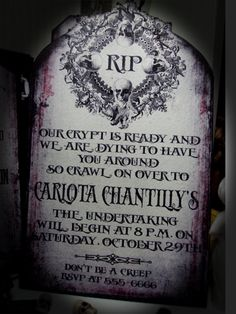 Halloween Invitations Tombstones. These are so cute!