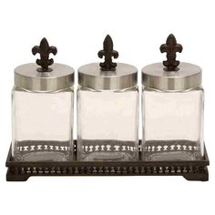 4 Piece Valere Glass Jar & Tray Set
