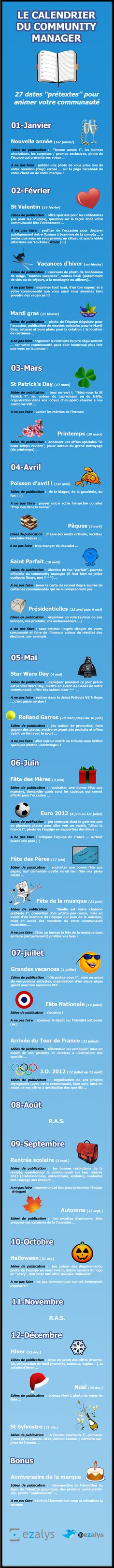 French dates for Community managers  . Le calendrier du Community Manager #infographics