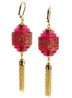 Raspberry Chinese Lantern Earrings at PLASTICLAND