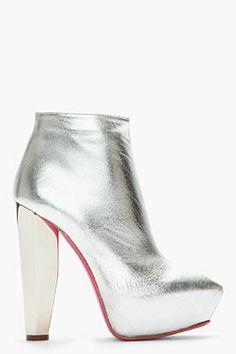 VERSUS Metallic Silver Mirrored-Heel Leather Boots