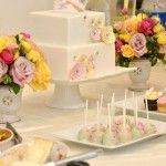 Vintage inspired baby shower dessert table. #vintage #dessert #table
