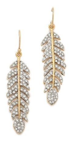 Pave Feather Drop Earrings