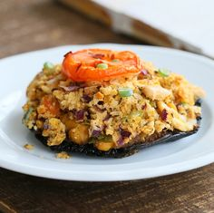 Portabella Mushrooms stuffed with Herbed Chickpeas. Vegan Recipe | Vegan Richa