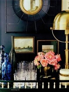 interior, design homes, classi bar, black walls, black gold, brass, bar carts, design idea, gold accents
