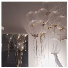 Clear balloons with Gold confetti inside