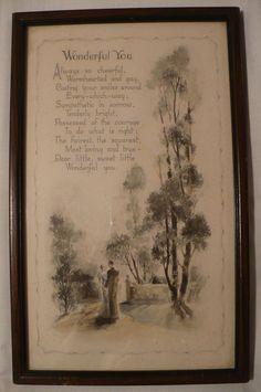 "Vtg BUZZA Print ""Wonderful You"" Poem Saying Sweetheart Friend Poem Wood Frame"
