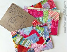 craft, fabric postcards, decorating ideas, cereal boxes, scrapbook paper, scrap fabric, fabric scraps, kid, snail mail